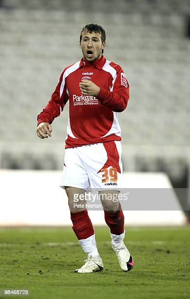 Adam Le Fondre of Rotherham United in action during the Coca Cola League Two Match between Rotherham United and Northampton Town at the Don Valley...
