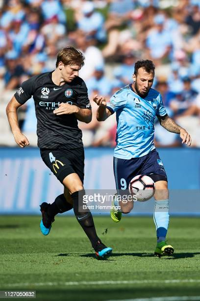 Adam Le Fondre of Sydney and Harrison Delbridge of Melbourne City contest the ball during the round 17 ALeague match between Sydney FC and Melbourne...