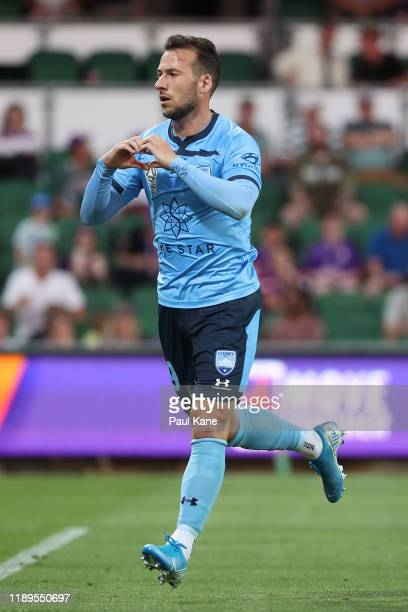 Adam Le Fondre of Sydney celebrates a goal during the round 7 ALeague match between Perth Glory and Sydney FC at HBF Park on November 23 2019 in...