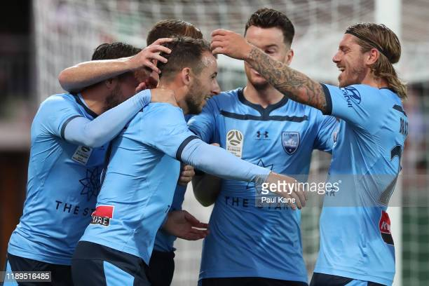 Adam Le Fondre of Sydney celebrates after slotting a penalty kick during the round 7 ALeague match between Perth Glory and Sydney FC at HBF Park on...