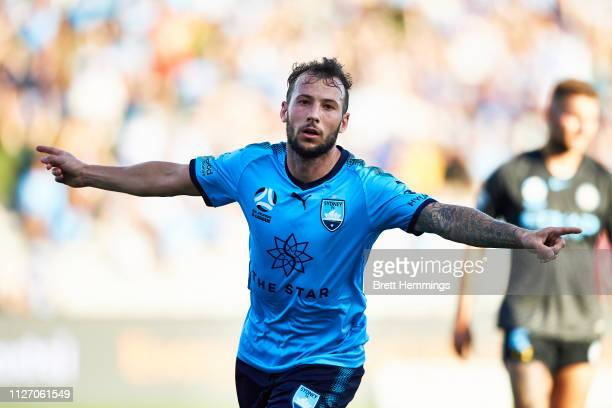 Adam Le Fondre of Sydney celebrates scoring a goal during the round 17 ALeague match between Sydney FC and Melbourne City at WIN Jubilee Stadium on...