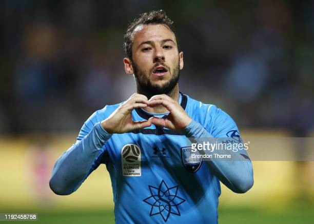 Adam Le Fondre of Sydney celebrates scoring a goal during the round nine A-League match between Sydney FC and the Brisbane Roar at Netstrata Jubilee...