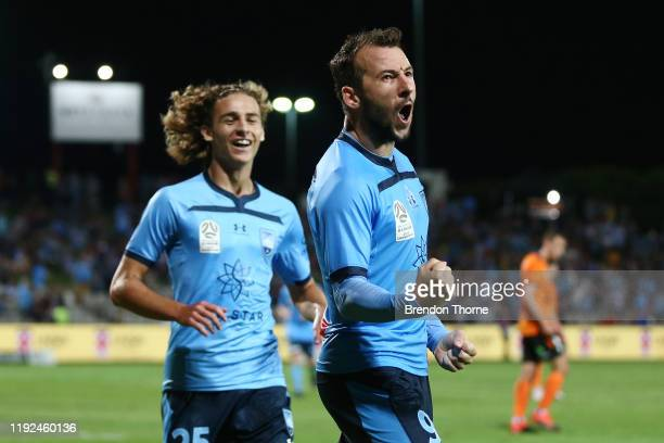 Adam Le Fondre of Sydney celebrates scoring a goal during the round nine ALeague match between Sydney FC and the Brisbane Roar at Netstrata Jubilee...