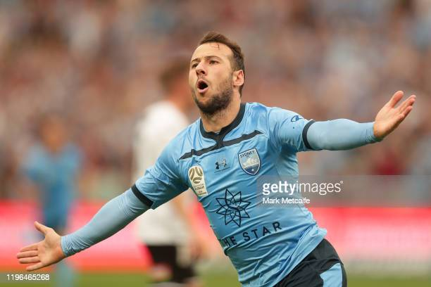 Adam Le Fondre of Sydney celebrates scoring a goal during the round 12 ALeague match between Sydney FC and Melbourne City at Netstrata Jubilee...