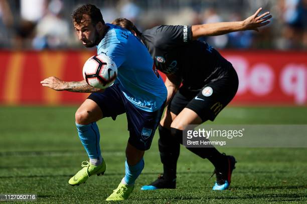 Adam Le Fondre of Sydney controls the ball during the round 17 ALeague match between Sydney FC and Melbourne City at WIN Jubilee Stadium on February...
