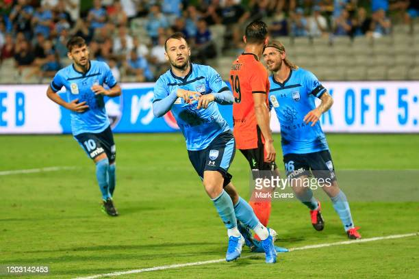 Adam Le Fondre of Sydney FC celebrates a goal during the round 17 ALeague match between Sydney FC and the Brisbane Roar at Netstrata Jubilee Stadium...