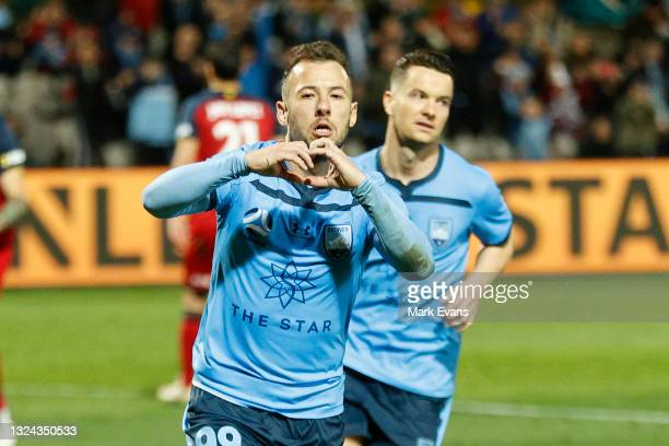 Adam Le Fondre of Sydney FC celebrates a goal from the penalty spot during the A-League Semi-Final match between Sydney FC and Adelaide United at...