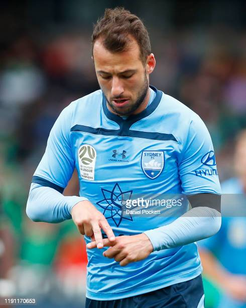 Adam Le Fondre of Sydney FC celebrates after kicking a goal during the round eight A-League match between Western United and Sydney FC at GMHBA...