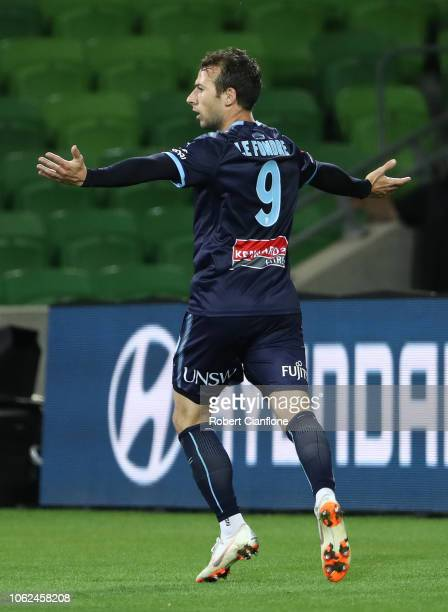 Adam Le Fondre of Sydney FC celebrates after scoring a goal during the round three ALeague match between Melbourne Victory and Sydney FC at AAMI Park...