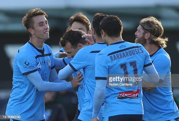 Adam Le Fondre of Sydney FC celebrates after scoring a goal during the A-League match between Western United and Sydney FC at Mars Stadium, on May 15...