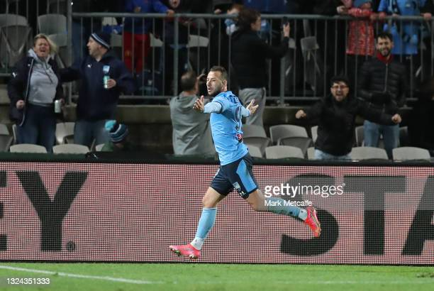 Adam Le Fondre of Sydney FC celebrates after scoring a goal from the penalty spot during the A-League Semi-Final match between Sydney FC and Adelaide...