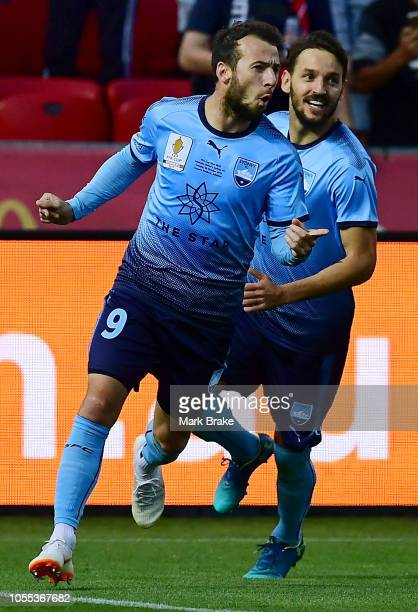 Adam Le Fondre of Sydney FC celebrates after scoring his teams first goal during the FFA Cup Final match between Adelaide United and Sydney FC at...