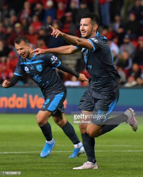 Adam Le Fondre of Sydney FC celebrates after scoring his teams third goal during the round one ALeague match between Adelaide United and Sydney FC at...
