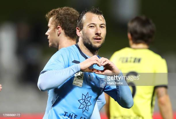Adam le Fondre of Sydney FC celebrates scoring a goal during the round 21 ALeague match between Sydney FC and the Wellington Phoenix at Netstrata...