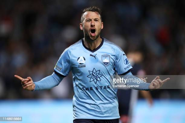 Adam Le Fondre of Sydney FC celebrates scoring a penalty goal during the ALeague Semi Final match between Sydney FC and the Melbourne Victory at...