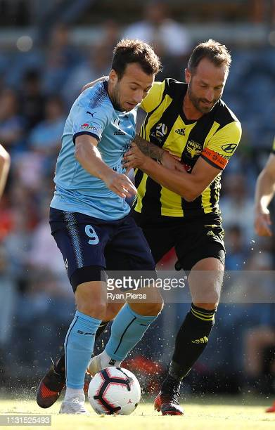 Adam le Fondre of Sydney FC competes for the ball against Andrew Durante of the Phoenix during the round 20 ALeague match between Sydney FC and the...