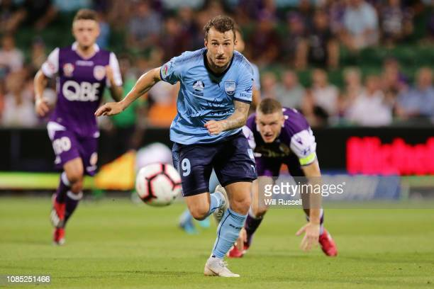 Adam Le Fondre of Sydney FC controls the ball during the round nine ALeague match between the Perth Glory and Sydney FC at nib Stadium on December 21...