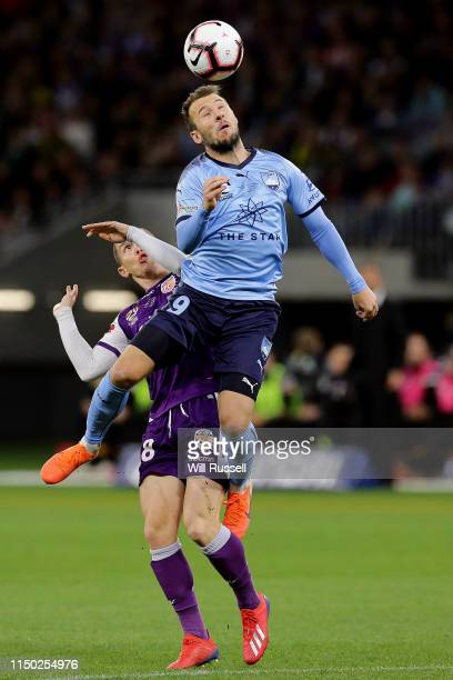 Adam Le Fondre of Sydney FC heads the ball during the 2019 ALeague Grand Final match between the Perth Glory and Sydney FC at Optus Stadium on May 19...