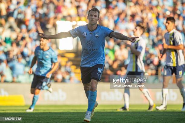 Adam Le Fondre of Sydney FC reacts after scoring a penalty the round 19 A-League match between Sydney FC and the Central Coast Mariners at Leichhardt...