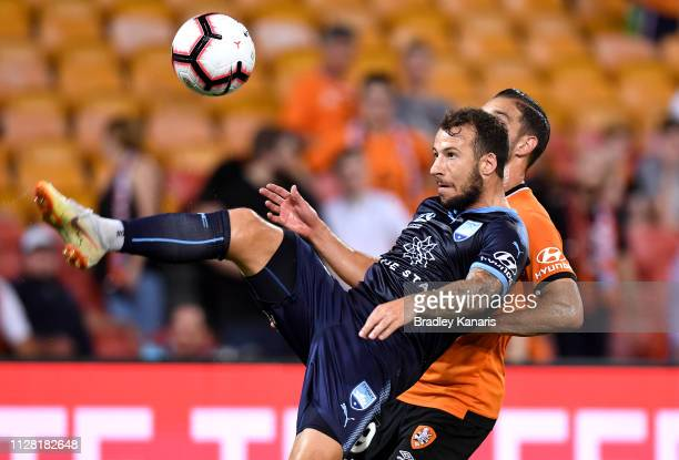 Adam Le Fondre of Sydney kicks the ball during the round 18 A-League match between the Brisbane Roar and Sydney FC at Suncorp Stadium on February 08,...