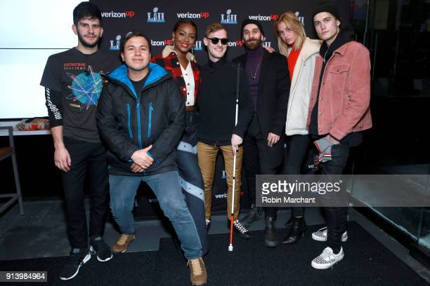 Adam Levin Bryant Eslava Justine Skye Casey Harris Sam Harris Meredith Mickelson and Neels Visser attend the Verizon Up Members Lounge at Super Bowl...