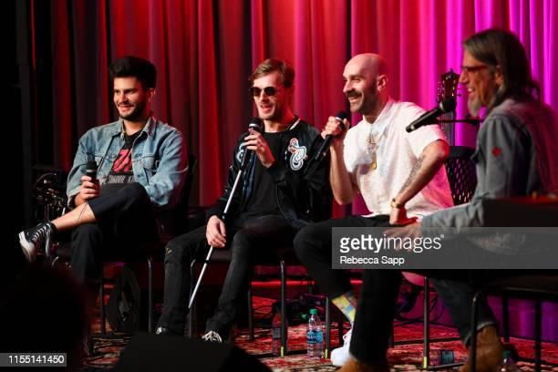 Adam Levin Casey Harris and Sam Harris speak with Museum Artistic Director Scott Goldman attend The Drop X Ambassadors on June 10 2019 in Los Angeles...