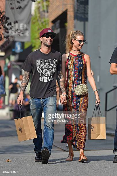 Adam Levine and Behati Prinsloo are seen on September 5, 2014 in New York City.