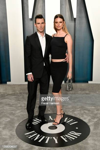 Adam Levine and Behati Prinsloo attends the 2020 Vanity Fair Oscar Party hosted by Radhika Jones at Wallis Annenberg Center for the Performing Arts...