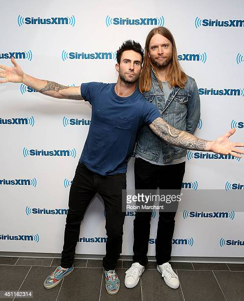 Adam Levine and guitarist James Valentine of Maroon 5 visits at SiriusXM Studios on June 24 2014 in New York City