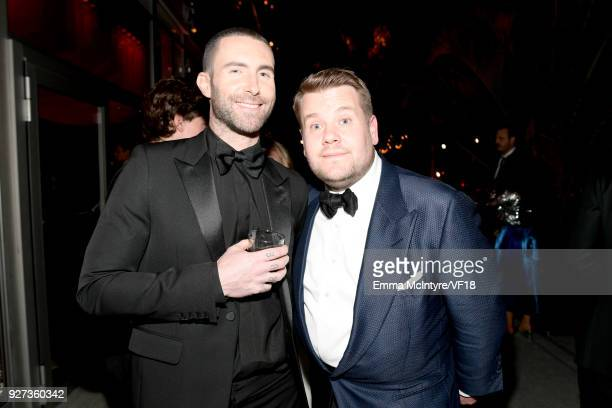 Adam Levine and James Corden attend the 2018 Vanity Fair Oscar Party hosted by Radhika Jones at Wallis Annenberg Center for the Performing Arts on...