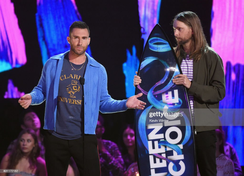 Adam Levine (L) and James Valentine of Maroon 5 accept the Decade Award onstage during the Teen Choice Awards 2017 at Galen Center on August 13, 2017 in Los Angeles, California.