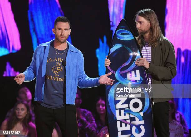 Adam Levine and James Valentine of Maroon 5 accept the Decade Award onstage during the Teen Choice Awards 2017 at Galen Center on August 13 2017 in...