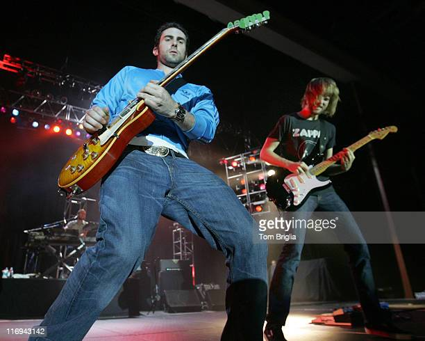 Adam Levine and James Valentine of Maroon 5 during Maroon 5 in Concert July 30 2005 at Maroon 5 Concert in Atlantic City NJ United States