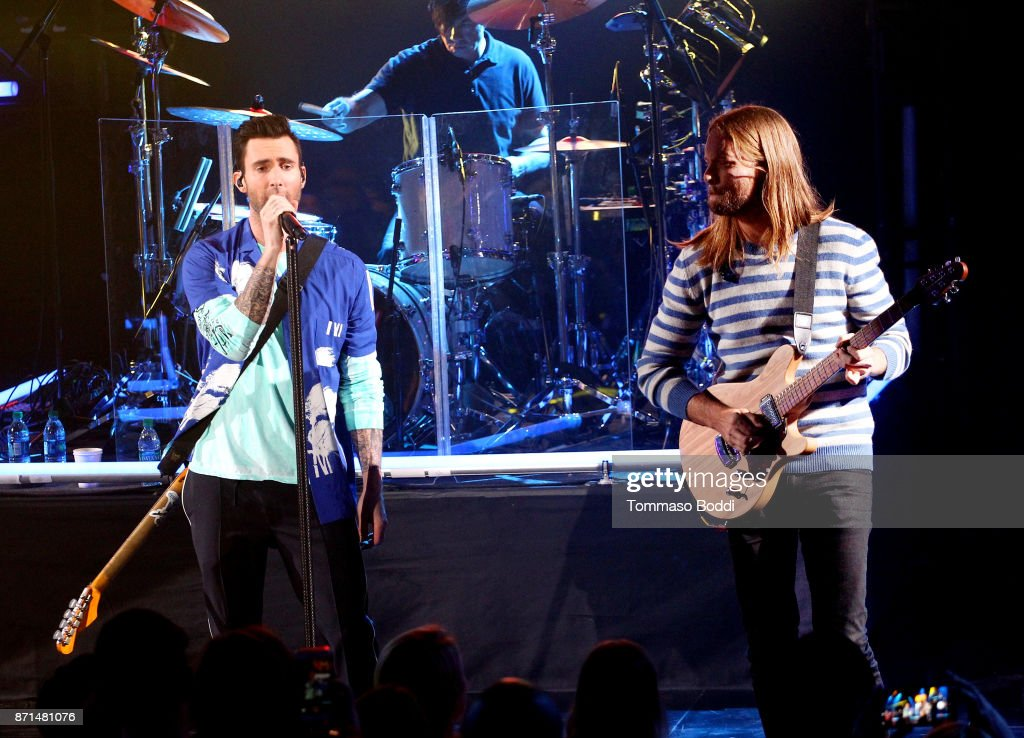 Adam Levine (L) And James Valentine Of Maroon 5 Perform At The IHeartRadio  Album