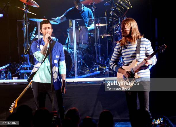 Adam Levine and James Valentine of Maroon 5 perform at the iHeartRadio Album Release Party with Maroon 5 at iHeartRadio Theater on November 7 2017 in...