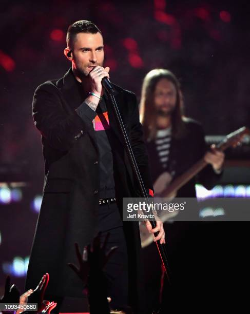 Adam Levine and James Valentine of Maroon 5 perform during the Pepsi Super Bowl LIII Halftime Show at Mercedes-Benz Stadium on February 3, 2019 in...