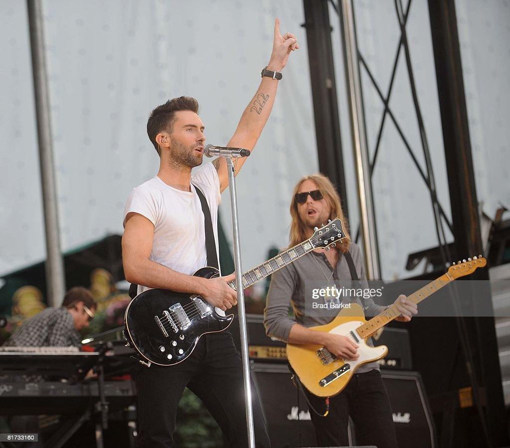 Adam Levine and James Valentine of Maroon 5 perform on ABC's 'Good Morning America' on June 27, 2008 at Bryant Park in New York City.
