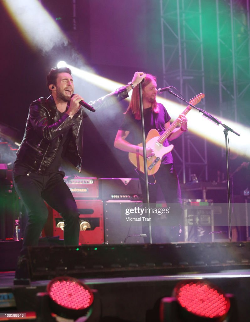 Adam Levine and James Valentine of Maroon 5 perform onstage during the 2013 KIIS FM's Wango Tango held at The Home Depot Center on May 11, 2013 in Carson, California.