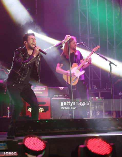 Adam Levine and James Valentine of Maroon 5 perform onstage during the 2013 KIIS FM's Wango Tango held at The Home Depot Center on May 11 2013 in...