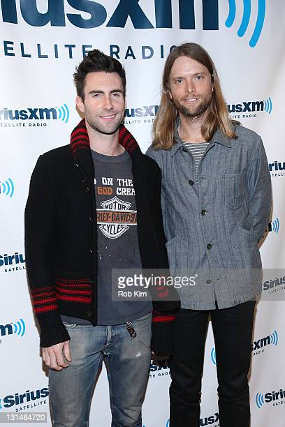 Adam Levine and James Valentine of Maroon 5 visit The Morning Mash Up on SiriusXM Hits 1 at the SiriusXM Studio on November 4 2011 in New York City