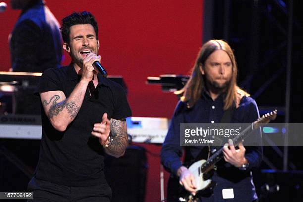 Adam Levine and James Valentine onstage at The GRAMMY Nominations Concert Live held at Bridgestone Arena on December 5 2012 in Nashville Tennessee