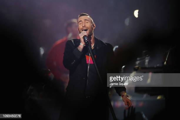 Adam Levine and Maroon 5 perform during the Pepsi Super Bowl LIII Halftime Show at MercedesBenz Stadium on February 3 2019 in Atlanta Georgia