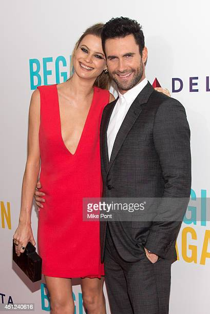 Adam Levine and Model Behati Prinsloo attend the 'Begin Again' premiere at SVA Theater on June 25 2014 in New York City