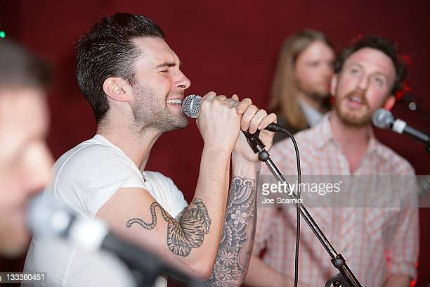 Adam Levine and Ryan Miller perform at Green Music Group Celebrates Its Official Launch Party at the Janes House on January 30 2010 in Hollywood...