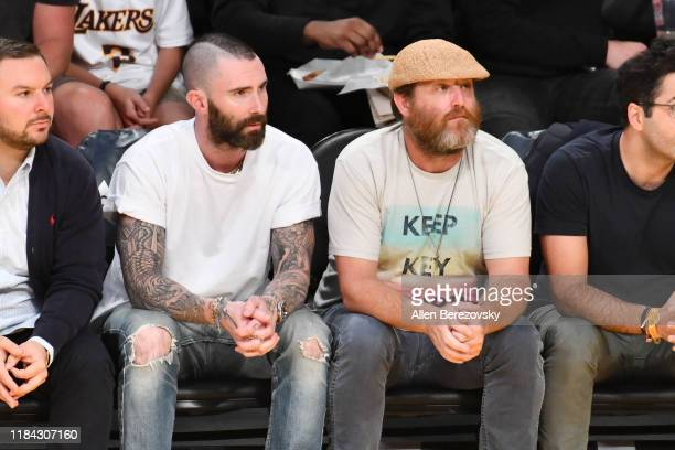 Adam Levine attends a basketball game between the Los Angeles Lakers and the Memphis Grizzlies at Staples Center on October 29, 2019 in Los Angeles,...