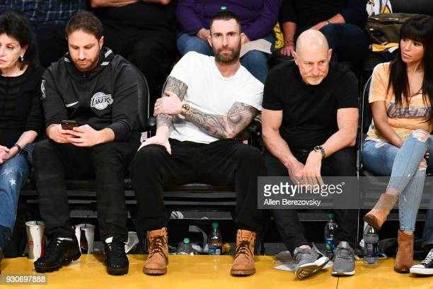 Adam Levine attends a basketball game between the Los Angeles Lakers and the Cleveland Cavaliers at Staples Center on March 11 2018 in Los Angeles...