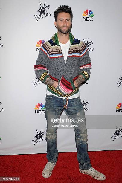 Adam Levine attends NBC's 'The Voice' season 7 red carpet event at HYDE Sunset Kitchen Cocktails on December 8 2014 in West Hollywood California