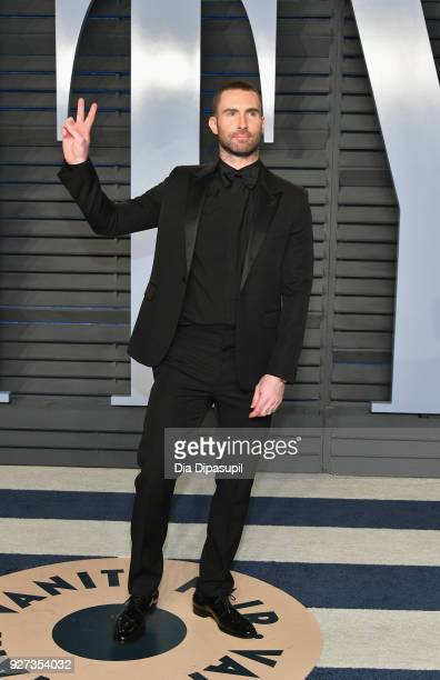 Adam Levine attends the 2018 Vanity Fair Oscar Party hosted by Radhika Jones at Wallis Annenberg Center for the Performing Arts on March 4 2018 in...