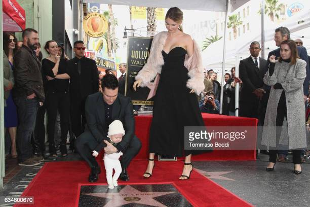Adam Levine, Behati Prinsloo and Dusty Rose Levine attend a ceremony honoring Adam Levine with Star On The Hollywood Walk Of Fame on February 10,...