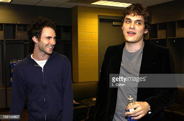 Adam Levine from Maroon 5 John Mayer backstage before they played together in concert